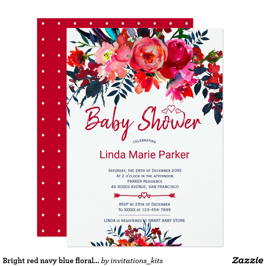 Bright red navy blue floral chic baby shower invitation | { Oh Baby ...