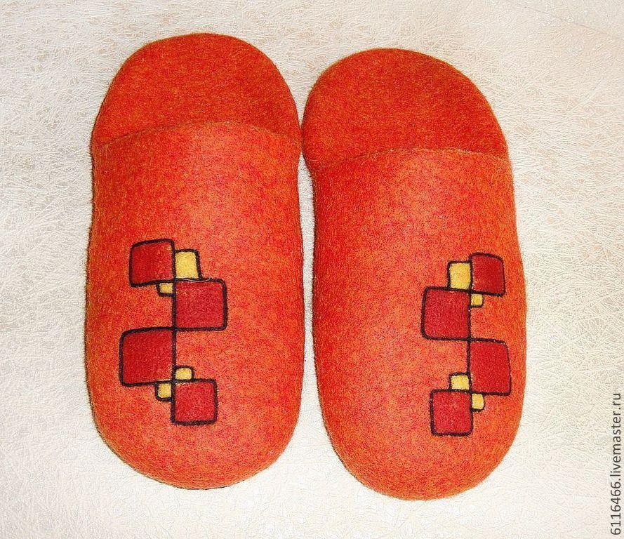 Купить домашние валяные тапочки из натуральной шерсти Оранжевое солнце - рыжий, тапочки, тапочки домашние