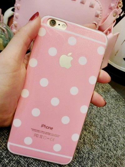 candy color polka dot tpu phone case for iphone 5 5s 6 6plus pink / mint green / white / black / gold