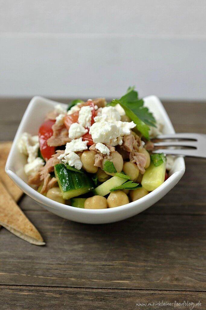 Schneller Kichererbsen-Salat mit Feta und Thunfisch