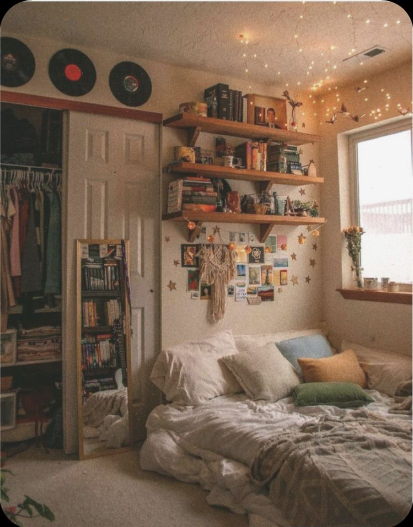 Pin by h on room inspo in 7  Retro bedrooms, Indie room, Room