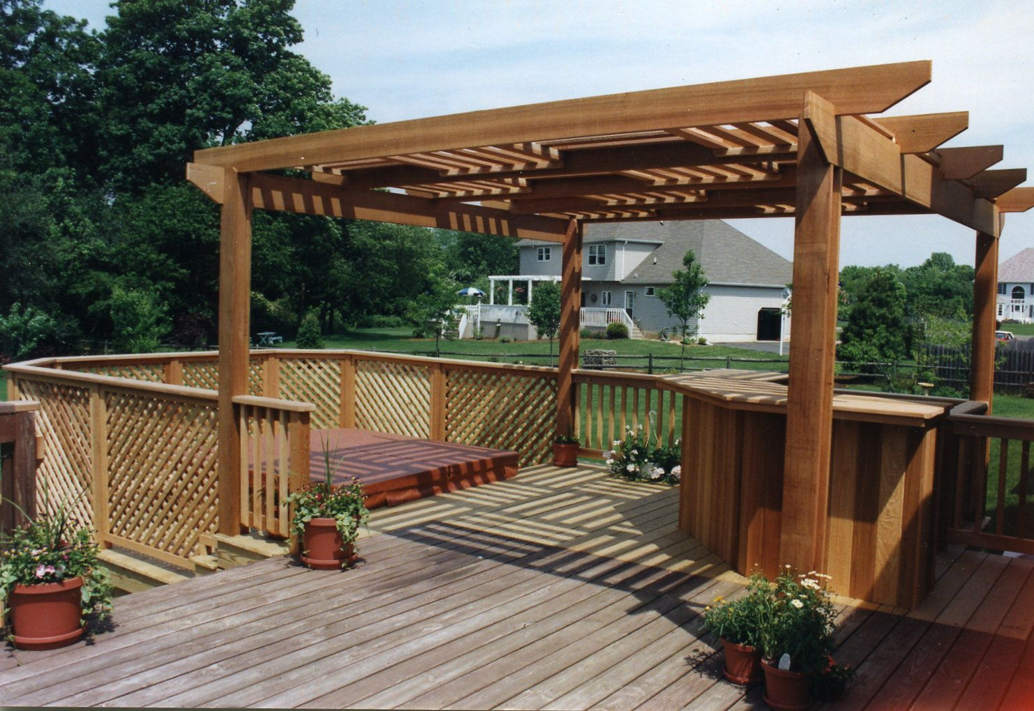 deck with pergola and hot tub  nj carl u0026 39 s fencing  decking and home improvements  bycarls com