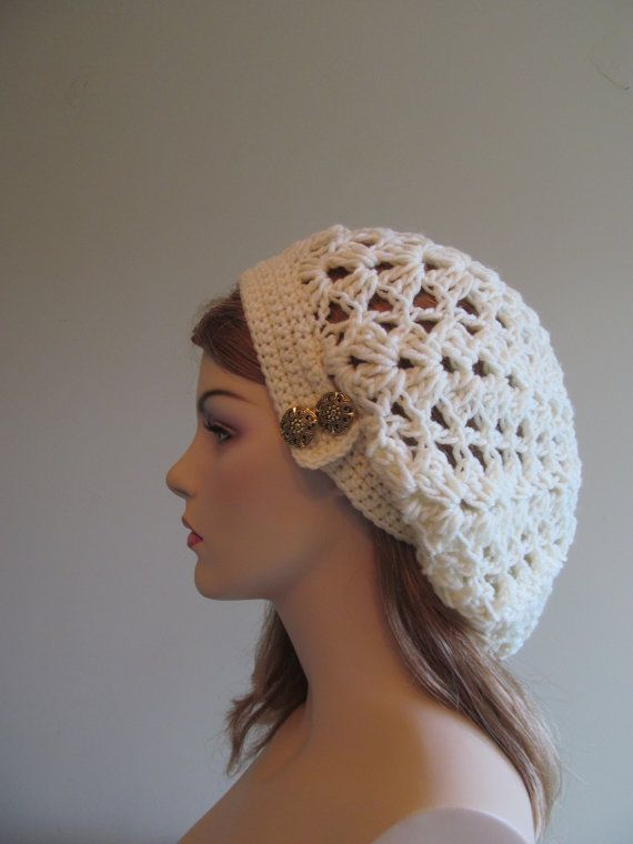 Slouchy Spring Beret Beanie Womens Mesh Lace Crochet Slouchy Hats ...