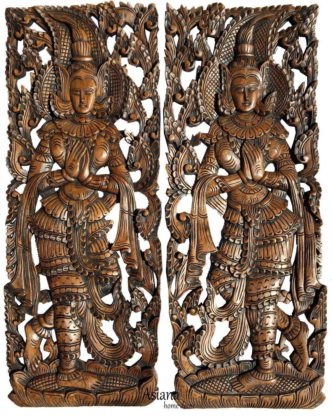Traditional thai sawaddee figure wall art panels asian home decor