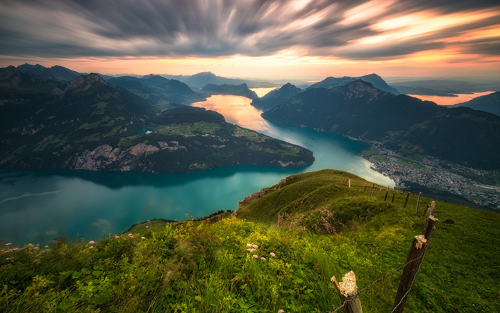 Download Wallpapers Lake Lucerne Mountains Sunset Alps