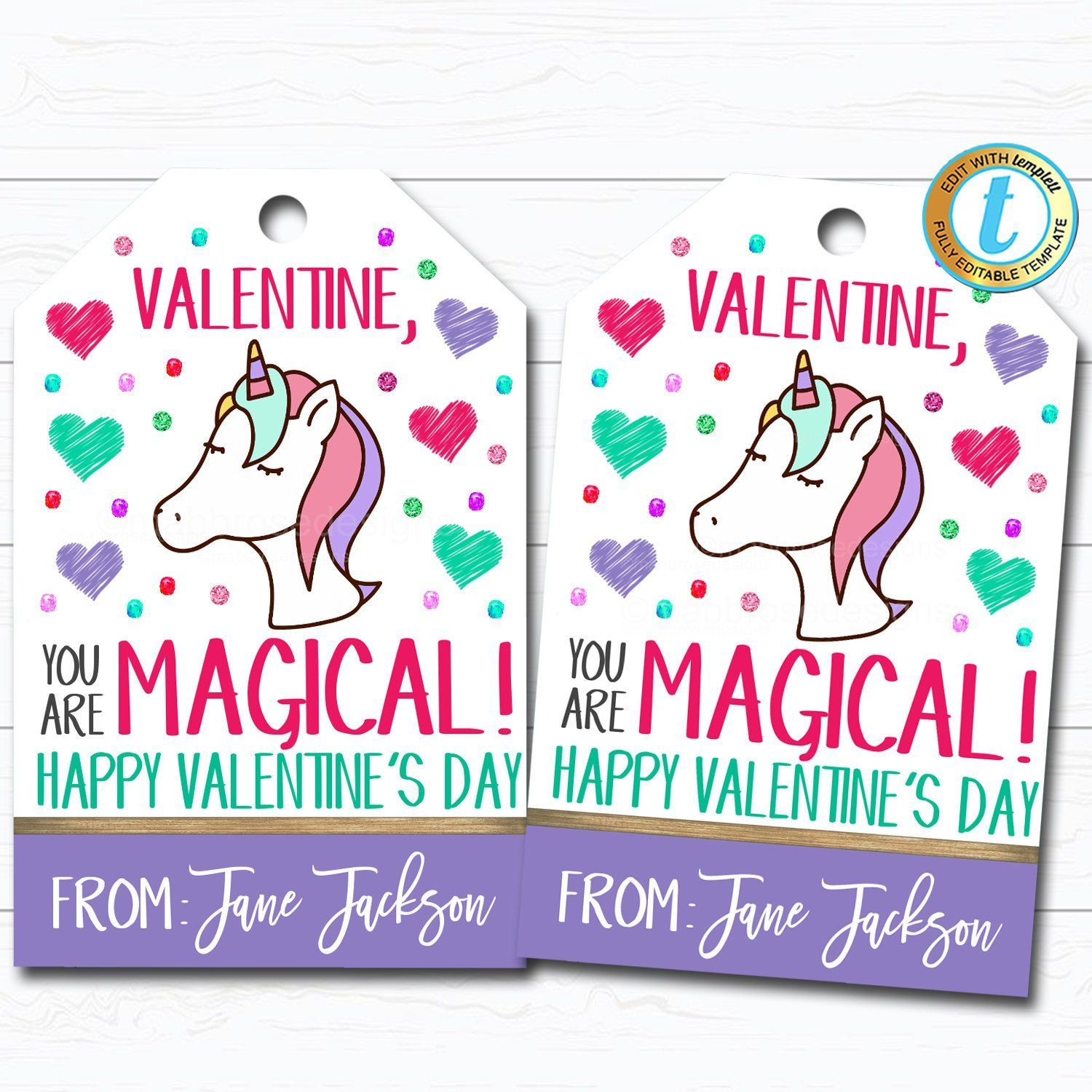 Photo of Valentine Unicorn Tags, You are Magical, Girl Friend Valentine Tag, Gift Kid Classroom School Teacher Staff Valentine, DIY  Template – valentinesdaygifts