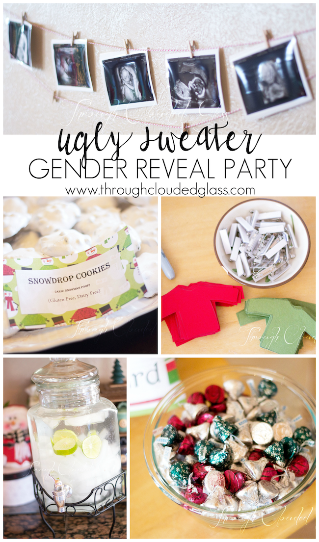Christmas Sweater Through Clouded Gender Reveal Party Glass Uglyugly Sweater Chr Christmas Gender Reveal Gender Reveal Party Gender Reveal Party Games