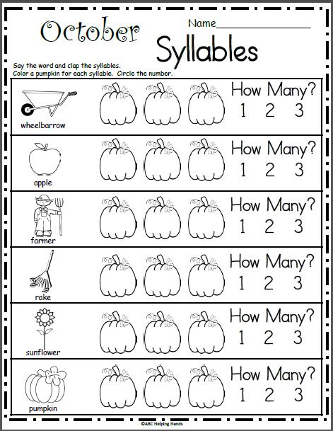 October Syllables Worksheet | Kindergarten | Pinterest | Aula ...
