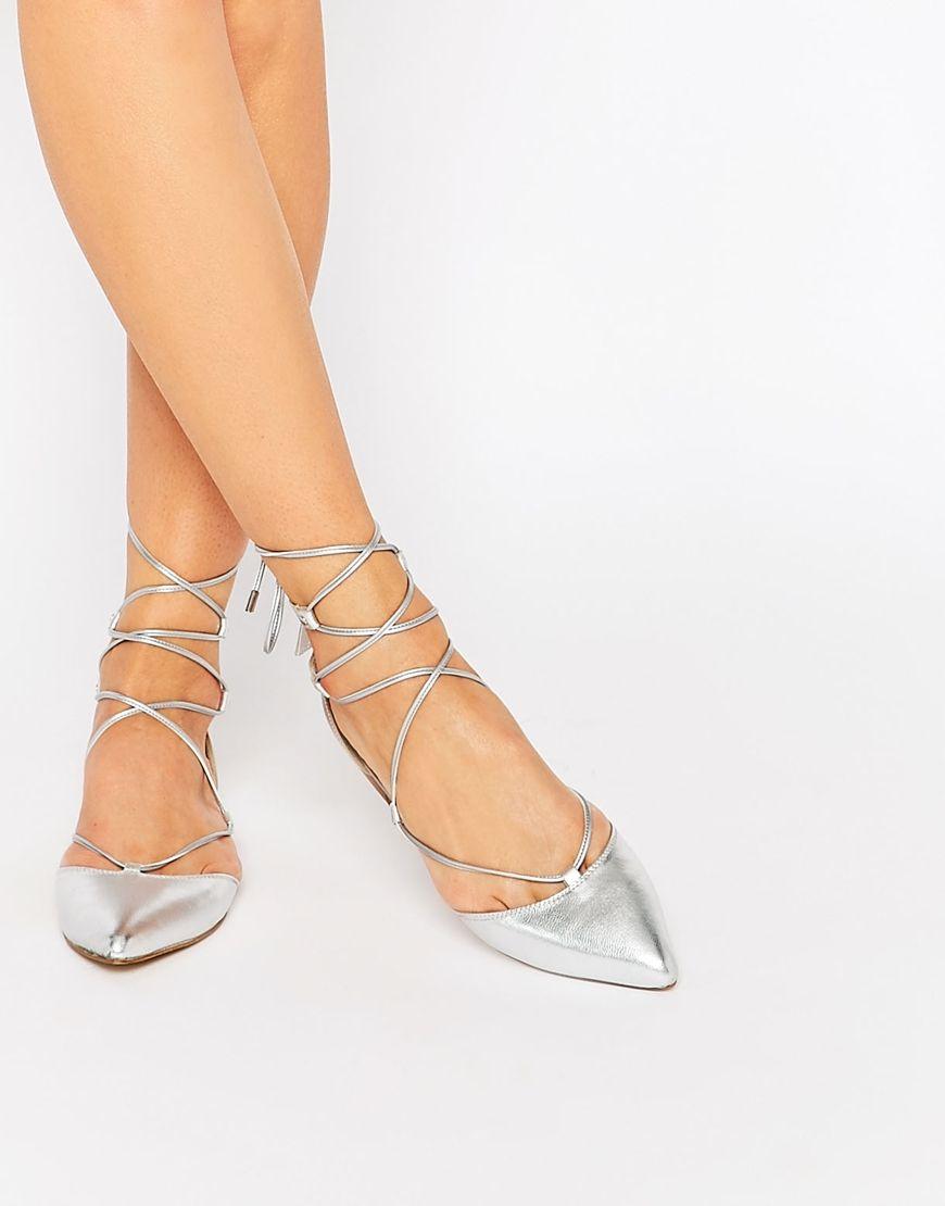 Carvela Loop Silver Leather Tie Up Flat