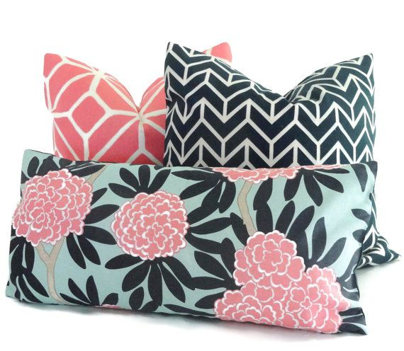 Caitlin Wilson Blue and Pink Floral Lumbar pillow Accent Pillow ...