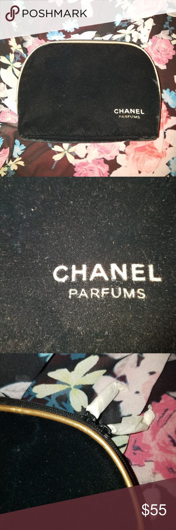 Chanel Parfums Black Velvet Makeup Travel Bag Makeup