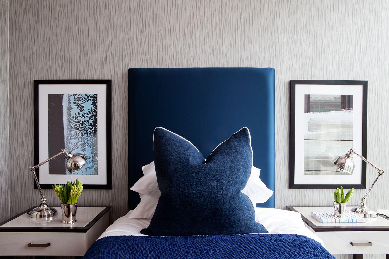 Bedroom bluebed wallart lamps sidetables alondonaccouter