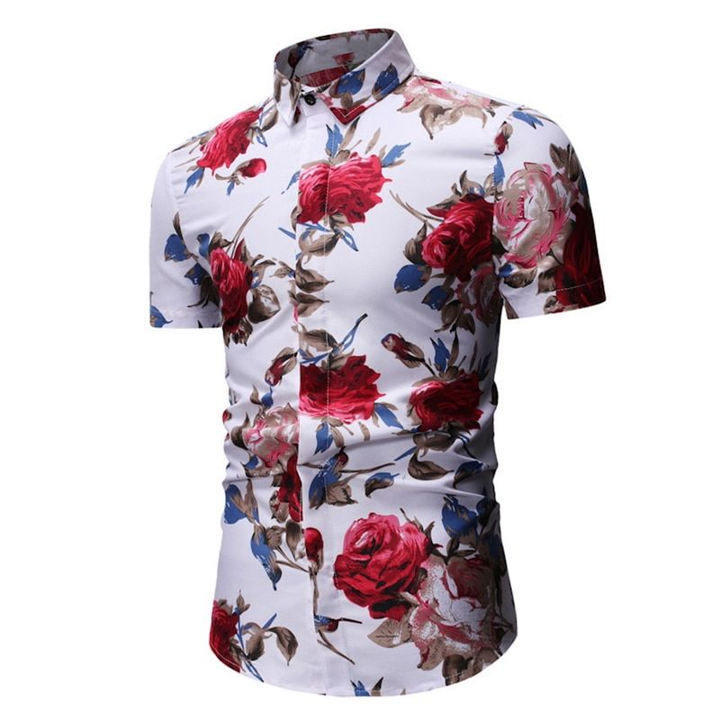 Mjartoria 2019 Camisas Estampadas De Flores Delgadas Para Hombre Camisa Floral De Manga Corta Para Homb In 2020 Casual Shirts For Men Men Shirt Style Basic Tops Casual