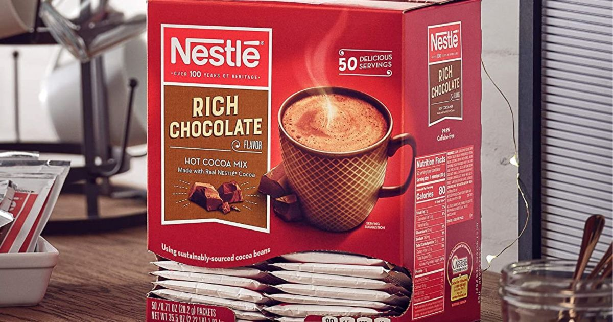 Nestle Hot Cocoa Rich Chocolate Packets 50Count Box Only
