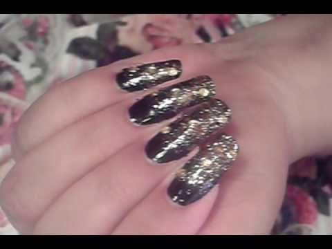 Ombre Gradient Black Gold Nail Art Design Tutorial Video Nail