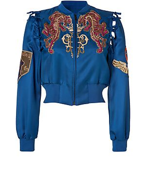 425e5cedee9b EMILIO PUCCI Embroidered Silk Bomber Jacket In Ocean Blue.