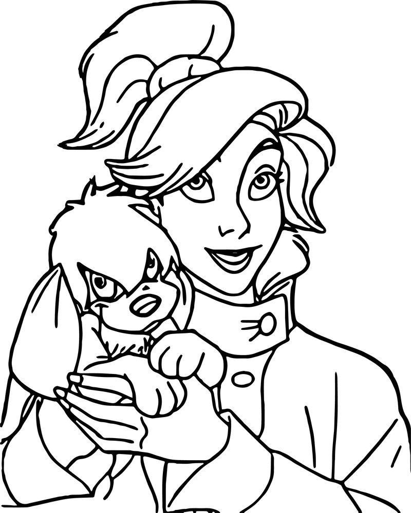 Anastasia And Dog Coloring Page  Dog coloring page, Princess