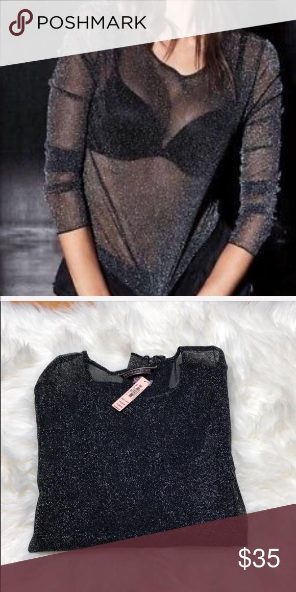 d392db0d1f3c8 Victoria Secret Sheer Top Black sheer long sleeve sparkly top. NWT ...