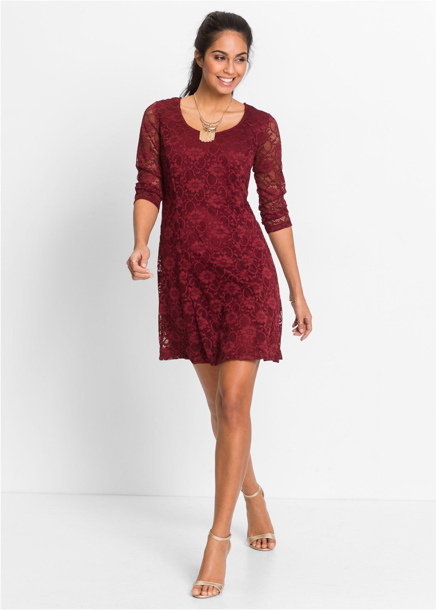 Kleid mit spitze bordeaux bodyflirt jetzt im online shop von ab 36 99 bestellen - Festliche kleider bonprix ...