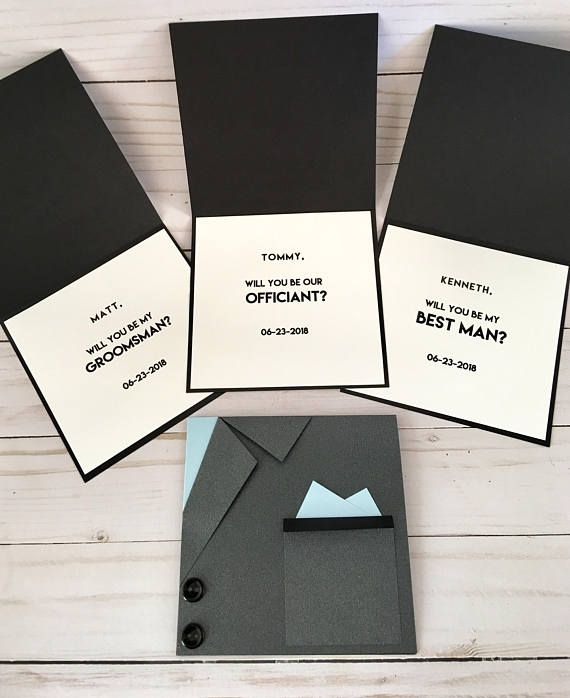 Black Suit Card - Wedding Invitation - Will you be my Groomsman - best of invitation card about wedding