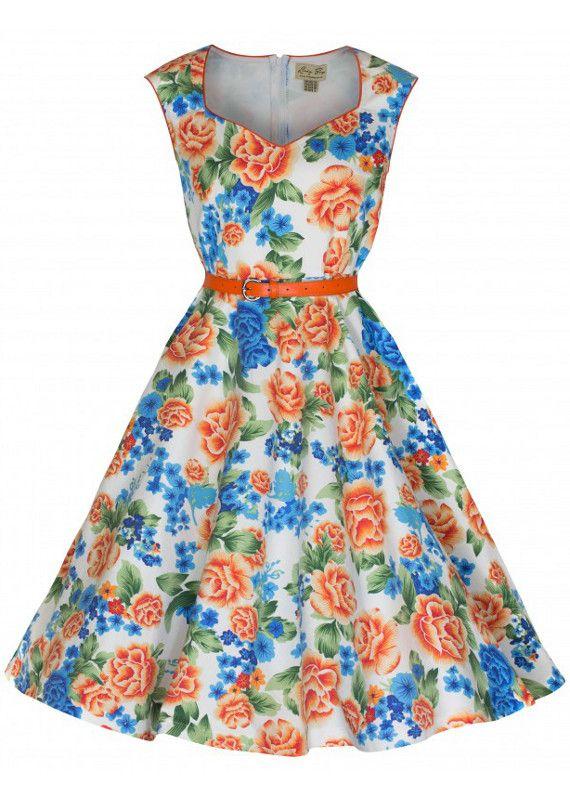 PRE ORDER: Yulia Miami Beach Floral Swing Dress - Spicy Orange