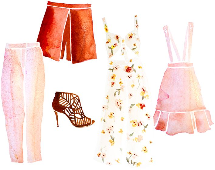 Retromantisch retro fashion blog drawing romantic jumpsuit Asos Topshop trousers shorts Miss Selfridge Sacha sandals Miss Patina skirt dress
