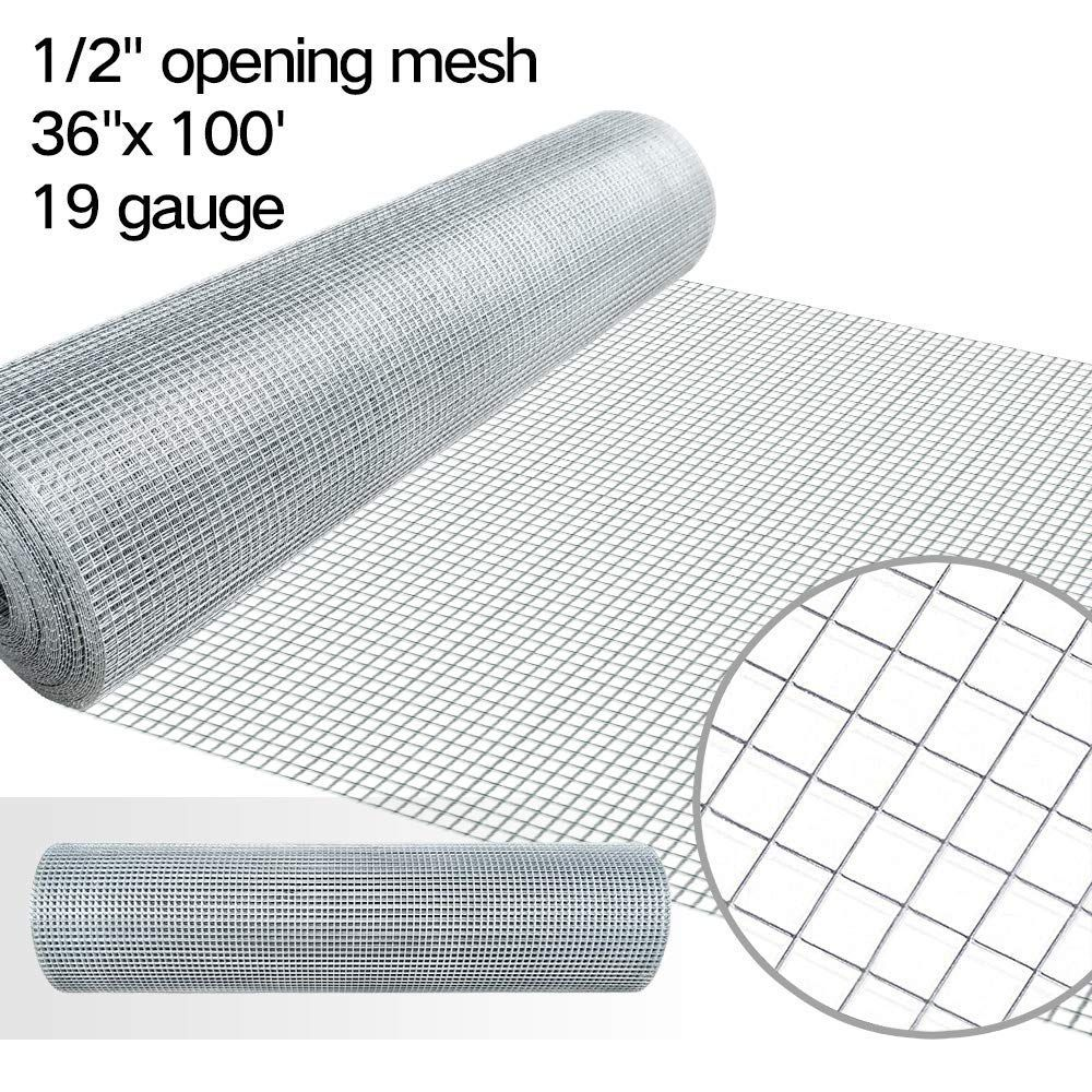 1 2 Hardware Cloth 36 X 100 19 Gauge Galvanized Welded Wire Metal Mesh Roll Vegetables Garden Rabbit Fencing Snake Fen Hardware Cloth Rabbit Fence Wire Netting