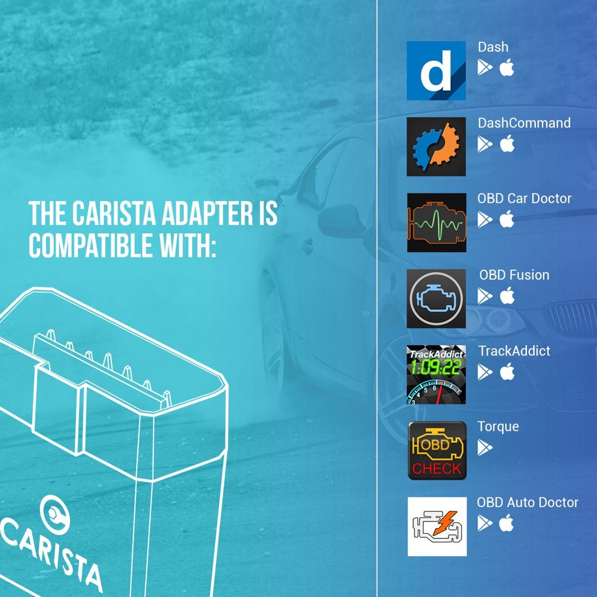The Carista adapter is open and compatible not only with