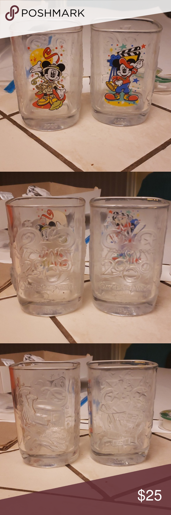 McDonalds Disney 2000 Cups 2 Sets of Disney 2000 cups from McDonalds collab with Disney .  Offers Welcome!  Thick Glasses . Dont use anymore Disney Kitchen Kitchen Tools #disneycups