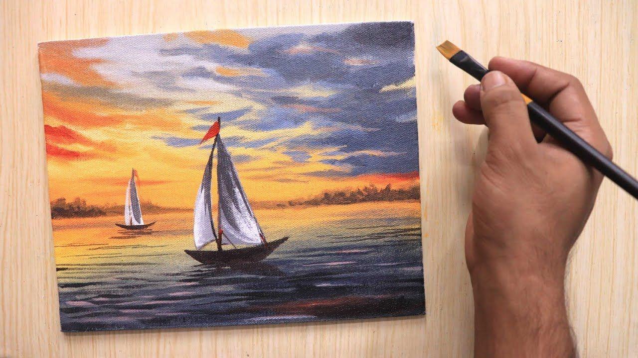 Acrylic Painting Of Beautiful Sunset Sky With Lonely Ships Acryl Malen Acrylmalerei Malerei