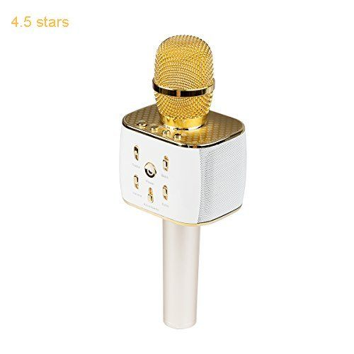 (Rating: 4.5 stars) VERKB Wireless Microphone Karaoke Pro 3-in-1 2200mAh Bluetooth Aluminium Alloy Karaoke Machine KTV for Apple iPhone Android Smartphone or Pc(Light Golden) This ranks among the best of the best products in Musical Instruments  category. Click below to see its Availability and Price in your country.