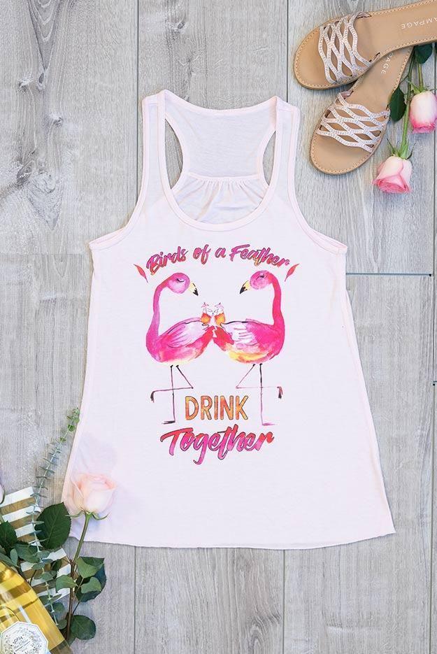 4b2c48dc15c5db Flamingo Watercolor Flowy Racerback Bachelorette Party Shirts - Bride