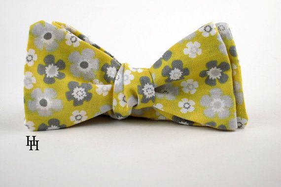 c294ad881ad0 Men's Bow Tie in mustard yellow with charcoal and grey floral/ LIMITED  EDITION / Groomsmen