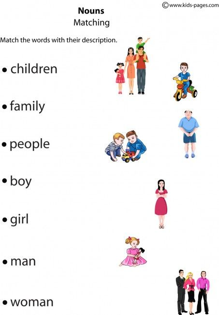 Kids Pages - Nouns Matching | English - family | Pinterest | English ...