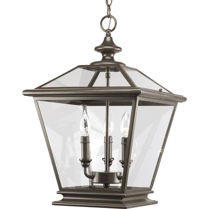 Progress Lighting P3903 Crestwood 3 Light 21 Tall Outdoor Pendant With Clear Gl Antique Bronze Pendants