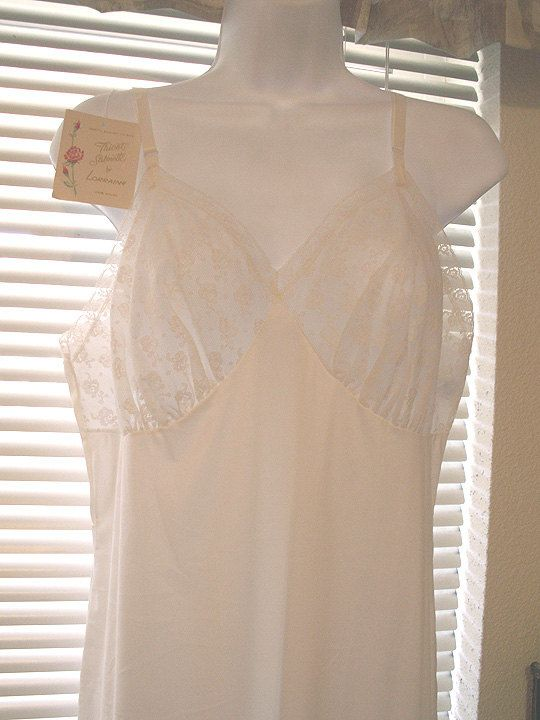 LORRAINE Full White Dress Slip Nightgown Size 38 NEW by mrnglry, $17.50
