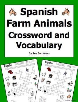 Spanish Farm Animals Crossword Puzzle Worksheet and Vocabulary ...