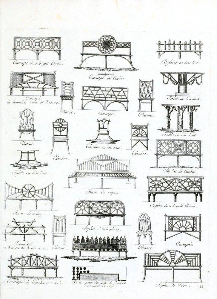 1805 european bench designs - print and frame