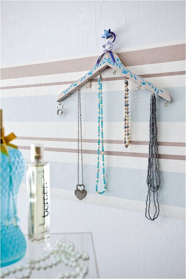 Diy Jewelry Organizer Hanging Necklaces Clothes Hanger Floral