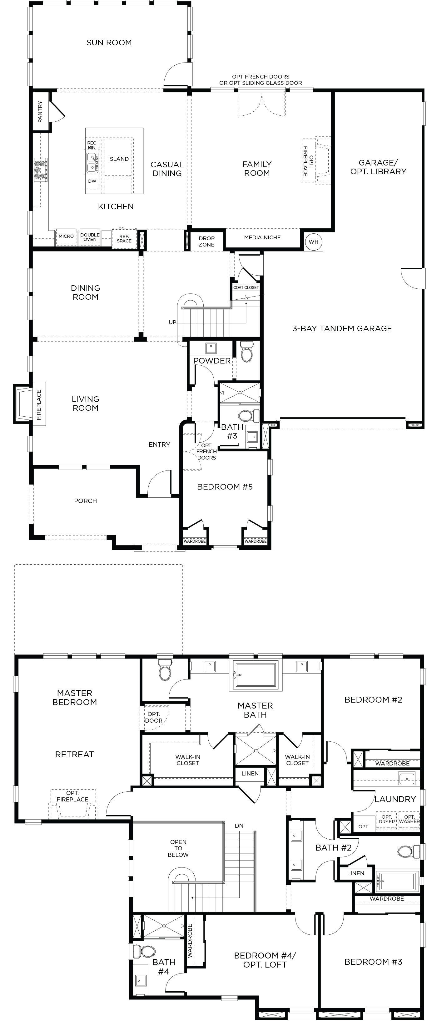 San Diego Luxury Homes 5 Bedrooms 4 5 Bathrooms Floor Plans Denah Rumah Desain Rumah Desain