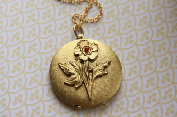 Gold Locket Necklace with Flower Basketweave Long by FreshyFig, $42.00