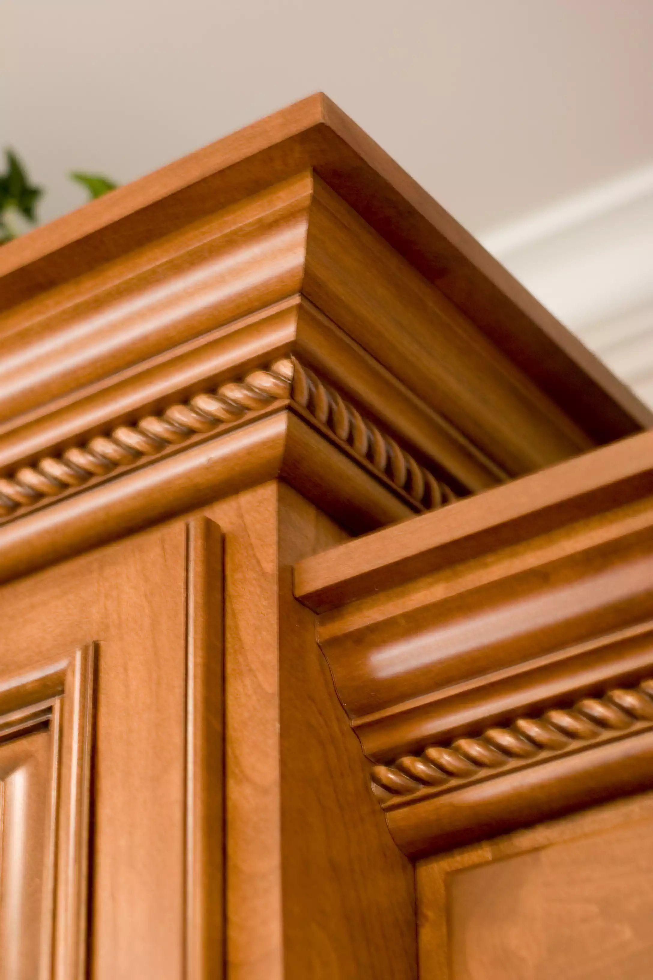Corner Rope Molding Details Stained Kitchen Cabinetry Kitchen Cabinet Doors Wooden Door Design Kitchen Cupboards