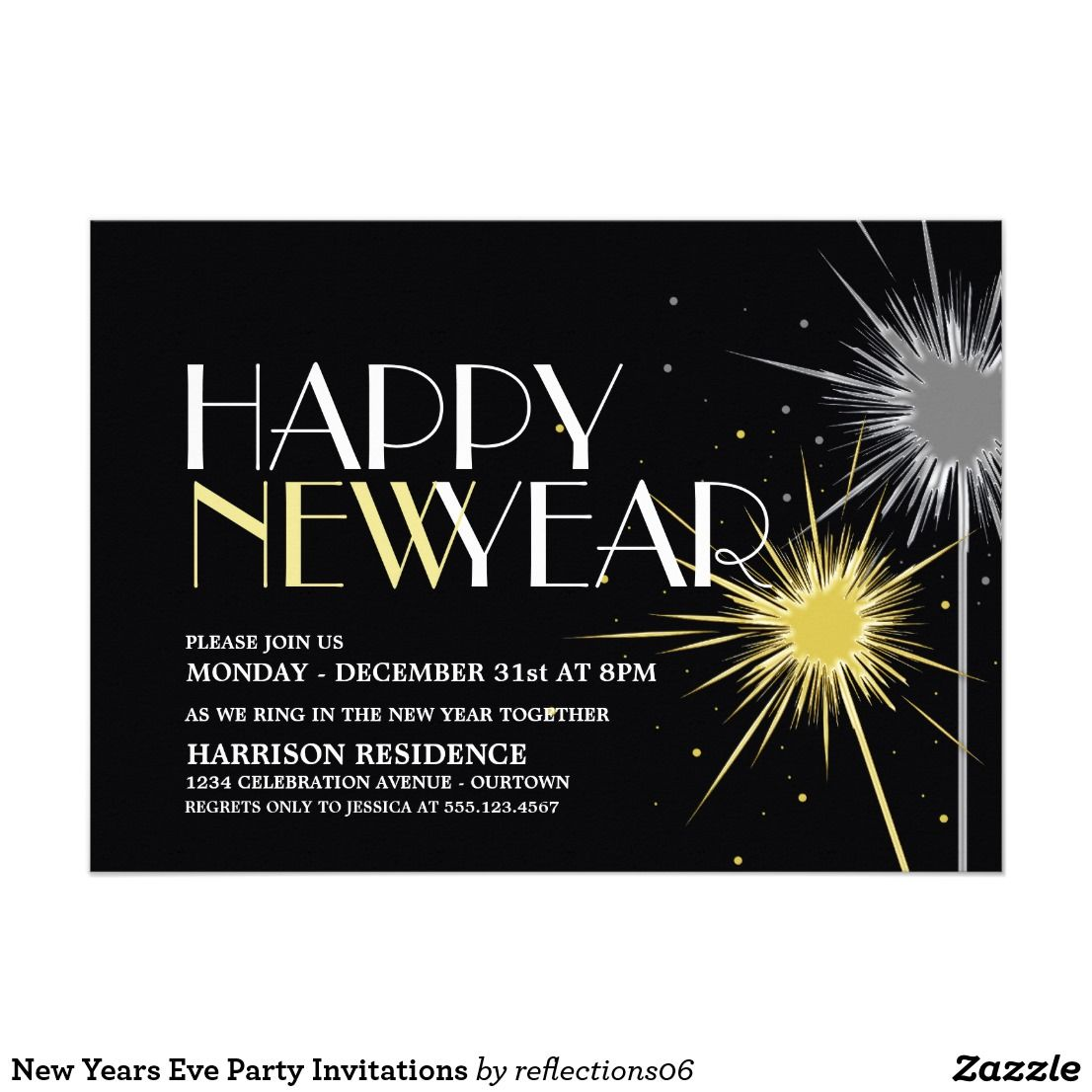 new years eve party invitations customize these fun silver and gold sparkler new years eve party