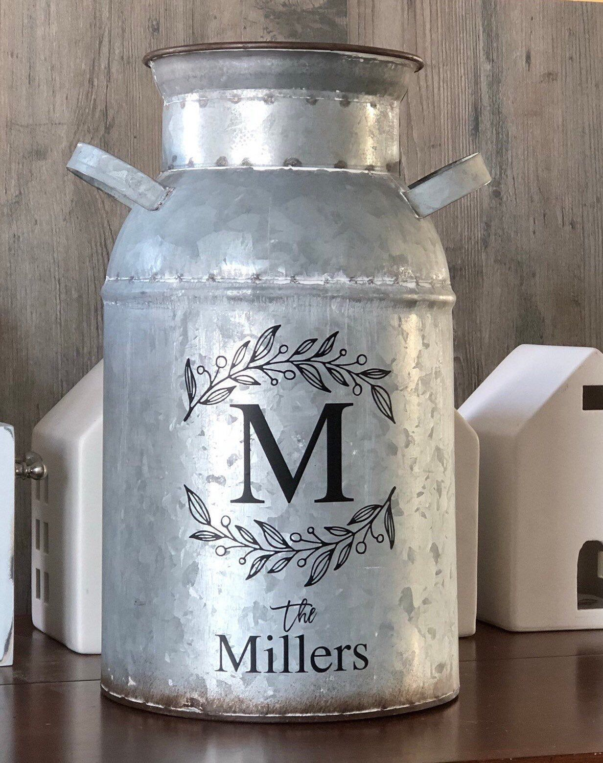 Excited To Share This Item From My Etsy Shop Personalized Milk Can Farmhouse Metal Milk Can Rustic Milk Can Farmhouse M Milk Can Decor Milk Cans Jug Decor