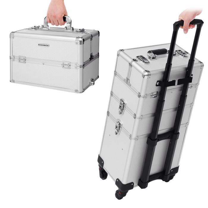 Songmics 4 In 1 Mallette Maquillage Valise Cadre En Aluminium Boite A Outils Beauty Case Trolley Coiffure Nail Cosmetic Jhz01s Mallette Maquillage Valise Coffret Maquillage