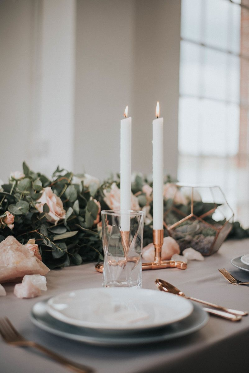 Wedding venue decorations ideas november 2018 Eucalyptus and blush table runner with copper details London