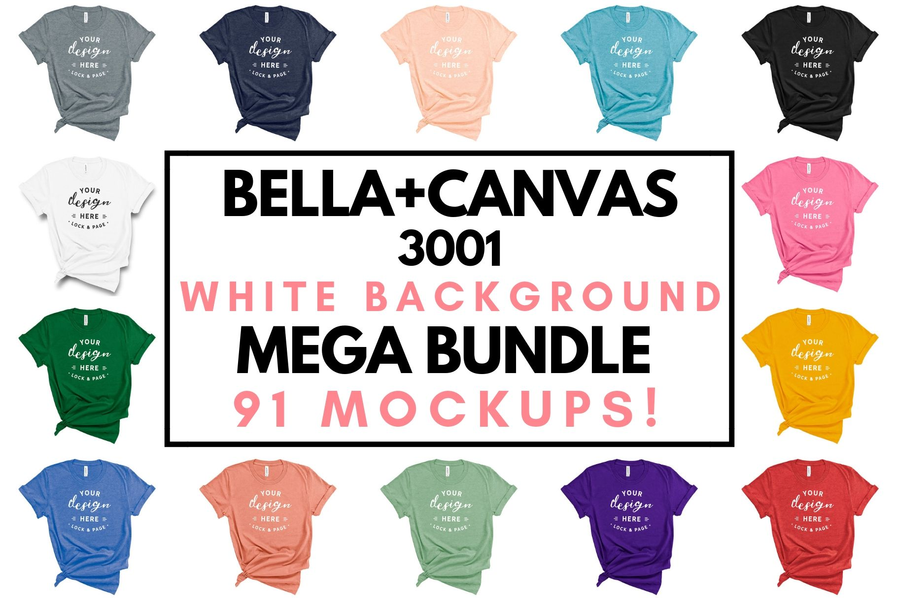 Download Bella Canvas 3001 T Shirt Mockup Bundle All Colors On White Example Image 1 Design Mockup Free Tshirt Mockup Shirt Mockup