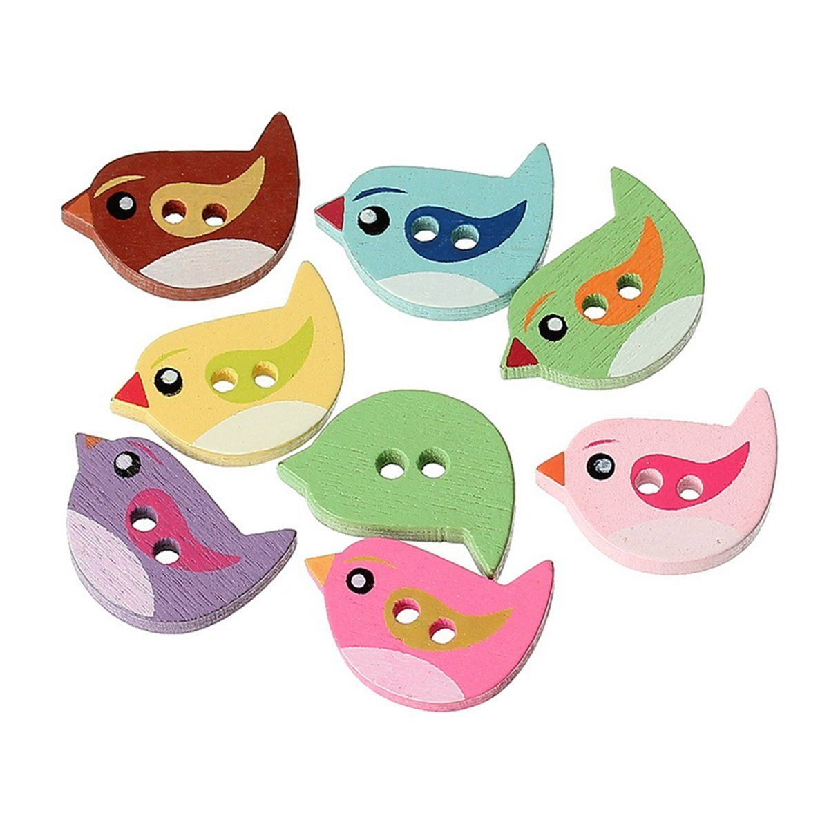 100pc Lovely Cartoon Animal Wood Buttons 2 Holes DIY Crafts Bouton For Kids Baby