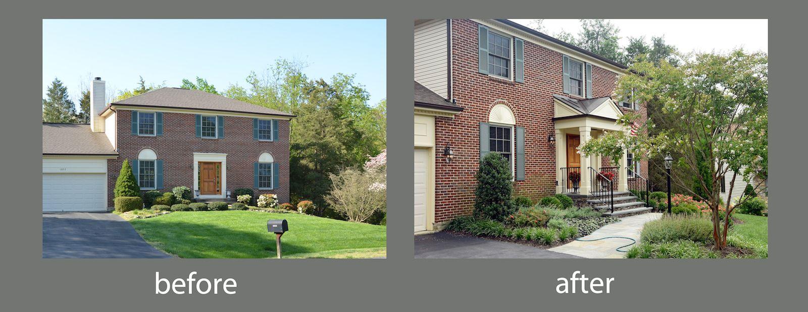 Before After Front Yard Landscape Design Herndon Va Front Yard Landscaping Design Modern Front Yard Front Yard Landscaping