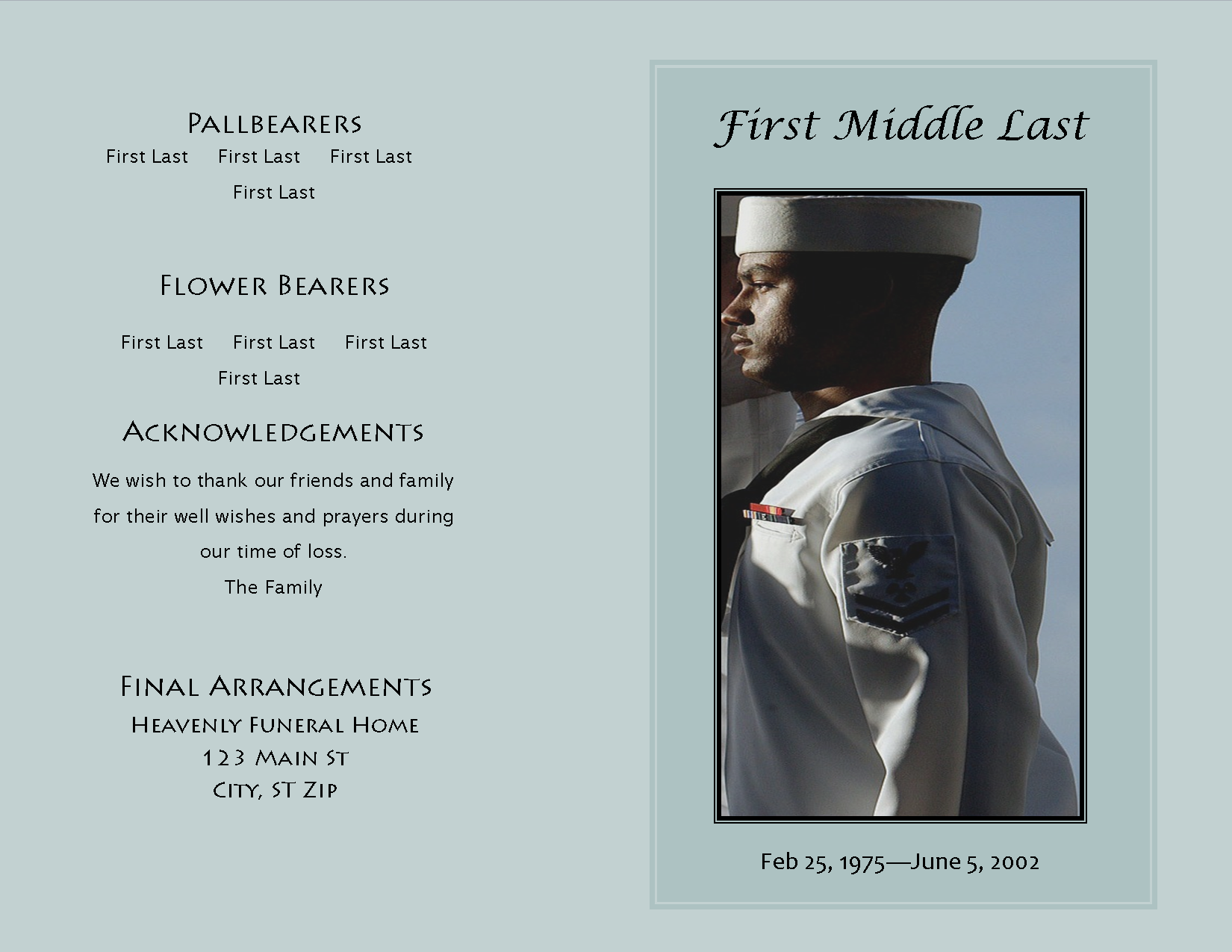 A sample funeral program template from the Honored Life Collection ...